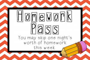 Reward Homework Pass